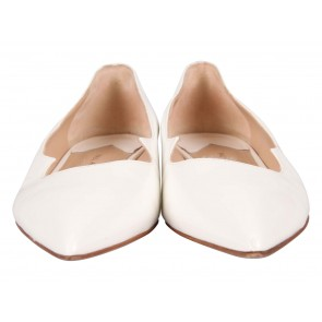 Paul Andrew White Zoya Wavy Leather Flats