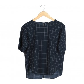 UNIQLO Dark Blue Plaid Blouse