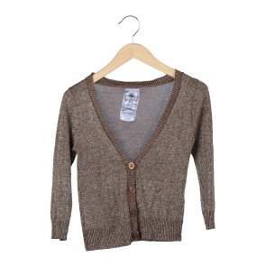 Zara Gold And Brown Glittery Cardigan