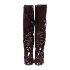Chanel Brown Below-the-Knee Patent Boots