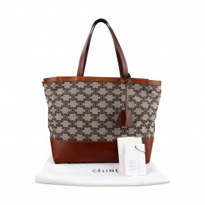 Celine Tan Canvas Logo Print Medium Shopper Tote Bag