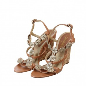 Chanel Brown Jeweled Camelia Flower Cork Wedges