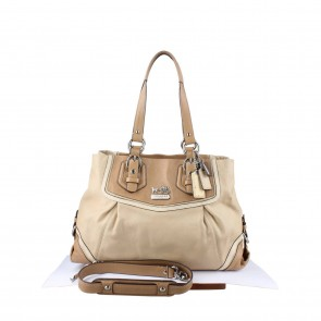 Coach Beige Leather Classic Ashley Tote Bag