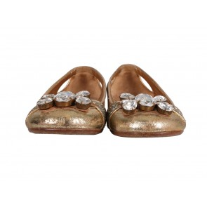 Miu Miu Gold Glitter Flats