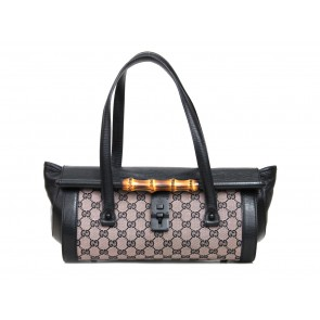 Gucci Black And Brown Monogram Tote Bag