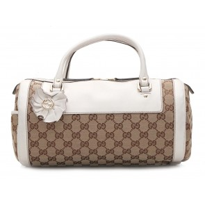 Gucci Brown And White Monogram Tote Bag