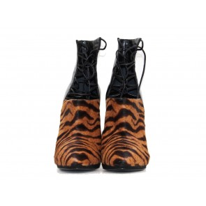 Sergio Rossi Black and Brown Leopard Print Ponyhair Booties