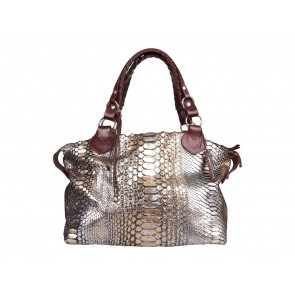 Pauric Sweeney Gold And Silver Overnight Python Shoulder Bag