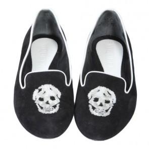 Alexander McQueen Black Skull Embroidery Suede Flats