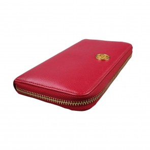 Tory Burch Robinson Zip Wallet in Fuschia