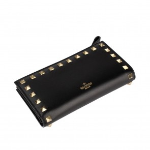 Valentino Black Garavani Rockstud Zip Pocket Wallet