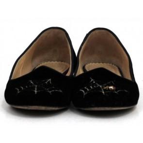 Charlotte Olympia Black Web Velvet Slippers
