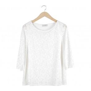 Per Una Off White Lace Sheer Insert Blouse