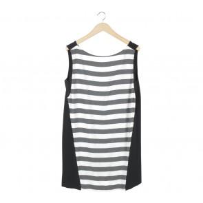 Zara Black And Off White Striped Sleeveless Low Back Mini Dress