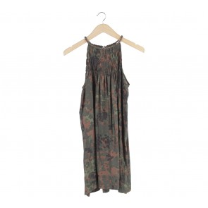 Zara Dark Green Patterned Sleeveless Mini Dress