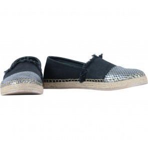 We Are Simplicite  Black And Silver Snake Skin Espadrilles Flats