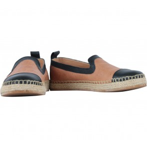 We Are Simplicite  Brown And Black Leather Espadrilles Flats