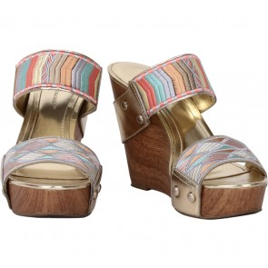 BCBGeneration Gold Embroidery Wedges