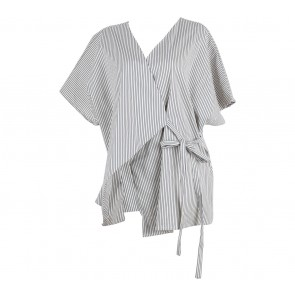 Shop At Velvet Dark Blue And White Striped Kimono Blouse