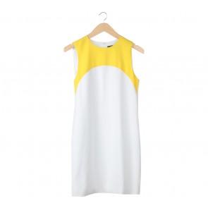 Zara Yellow And White Colorblock Midi Dress