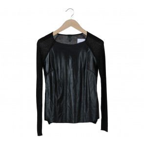 Guess Black Leather Blouse