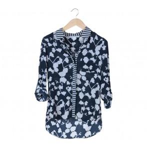 Diane Von Furstenberg Blue Floral Shirt