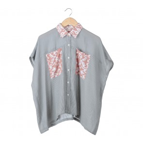 Geulis Grey Striped Shirt