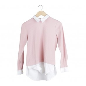 Cotton Ink Pink And White Sweatshirt Sweater