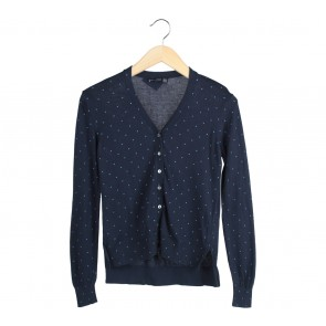 Mango Dark Blue Polka Dot Cardigan
