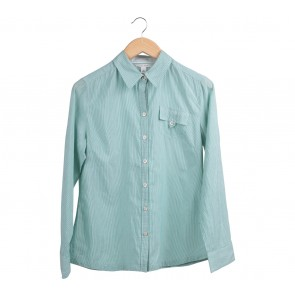 Banana Republic Green And White Striped Shirt