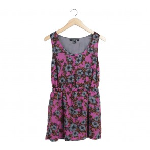 Forever 21 Purple Floral Sleeveless Mini Dress