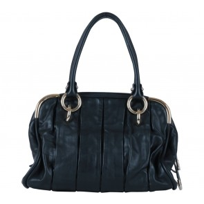 Bally Black Pleated Leather Handbag