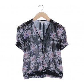 Urban Outfitters Black Floral Pleated Blouse