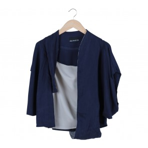 Oline Workrobe Blue And Grey Combi Blouse