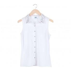 Vero Moda White Beaded Sleeveless Shirt