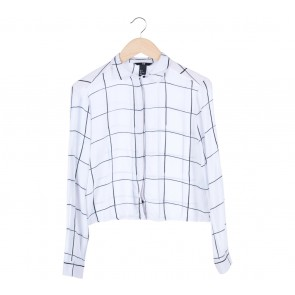 H&M White Plaid Cropped Shirt