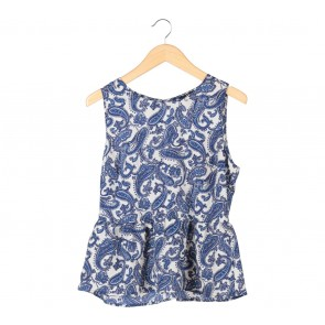 Forever 21 Blue And White Paisley Sleeveless