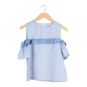 Cotton Ink Blue And White Striped Off Shoulder  Blouse