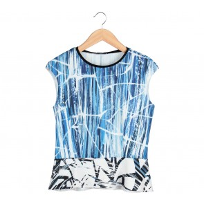Zara Blue Abstract Blouse
