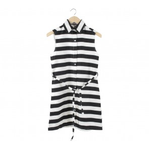 Beatrice Clothing Black And White Striped Mini Dress