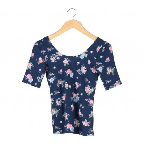 Divided Blue Floral Cropped Blouse