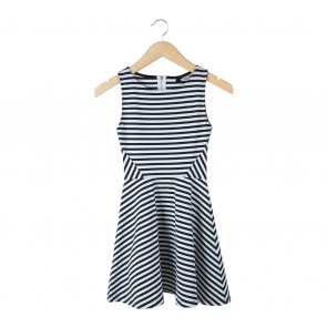 Divided Black And White Striped Mini Dress