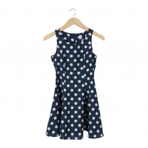 Divided Dark Blue And White Polka Dot Mini Dress