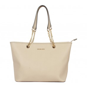 Michael Kors Beige Jet Set Travel Saffiano Leather Chain  Tote Bag