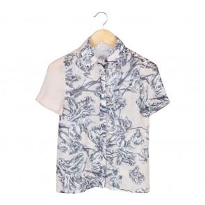 Derek Lam Cream And Grey Floral Shirt