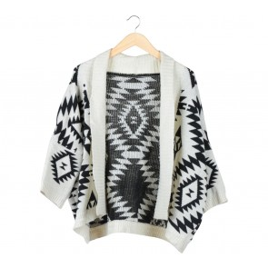 Black And Cream Knit Outerwear