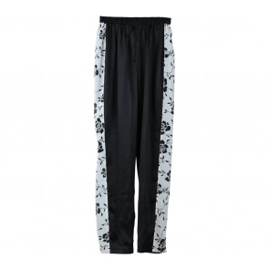 Black And Off White Floral Combi Pants
