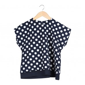 Cotton Ink Dark Blue And White Blouse