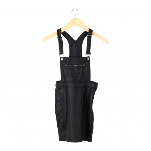 Divided Black Leather Overall Jumpsuit