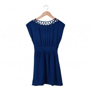 Forever 21 Blue Rubber Waist Mini Dress
